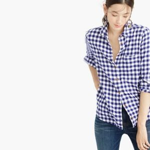 J. Crew boy button up shirt in blue flannel check
